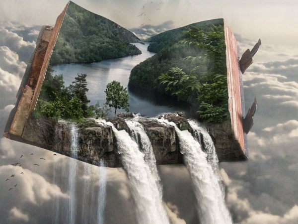 Fantasy book and magica waterfall (Whisper Publishing)